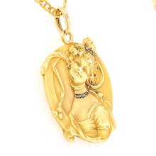 Load image into Gallery viewer, 14ct Yellow Gold Art Nouveau Pendant Depicting a Beautiful Woman - SOLD