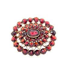 Load image into Gallery viewer, Garnet Seed Pearl Brooch Gold