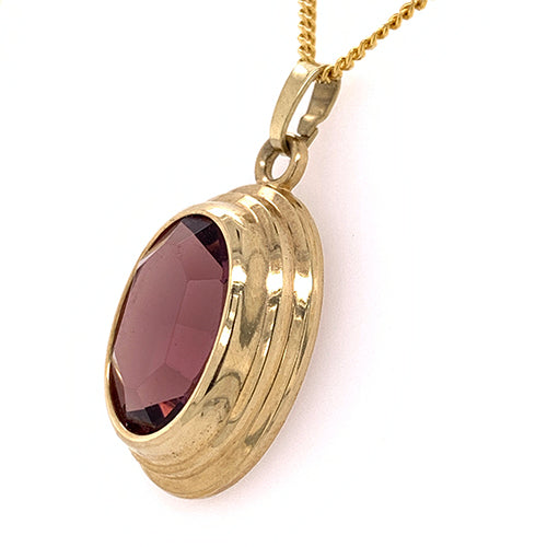 Oval Amethyst Pendant in Gold