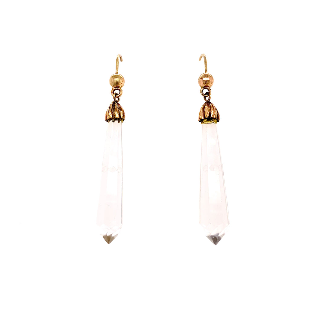 Antique Crystal drop earrings set in 9ct yellow gold.