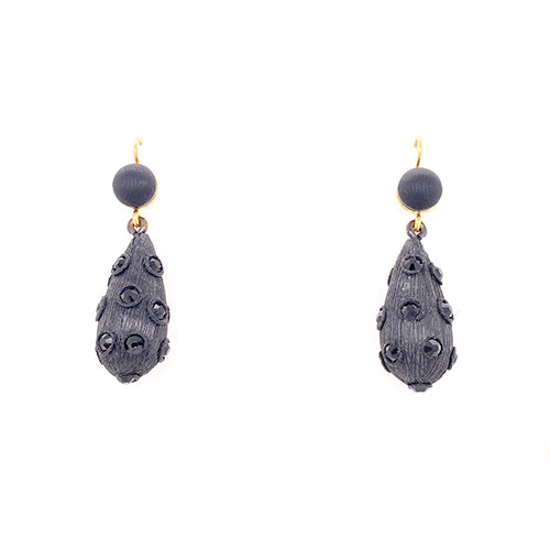 Jet Petrified Oak Fancy Drop Earrings