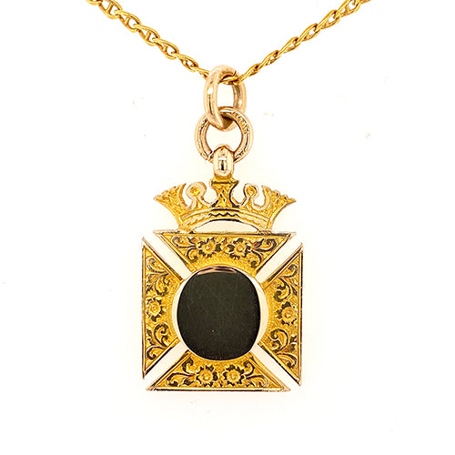 Maltese Cross Pendant with Crown