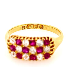 Load image into Gallery viewer, Victorian Checkerboard Style Ruby Diamond