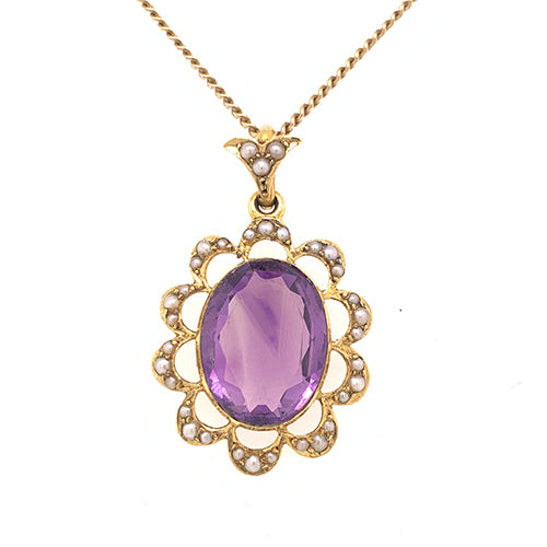 Amethyst and Pearl Pendant with chain