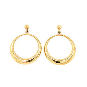 Vintage Gold Circle Drop Earrings