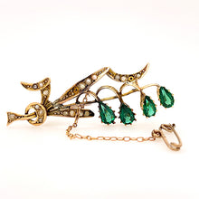 Load image into Gallery viewer, Green Garnet and Seed Pearl Garden Brooch