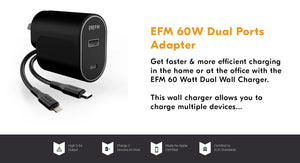 EFM 60W Dual Ports Wall Adapter Black