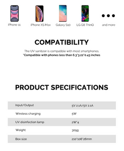 smartphone UV sanitiser steriliser & wireless charger product specifications compatibility