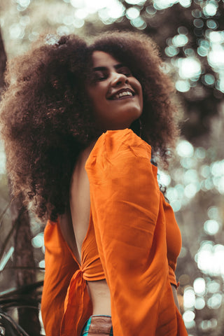 Happy curly hair woman