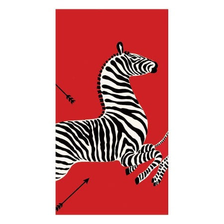 Zebras Paper Guest Towel Napkins in Red - 15 Per Package