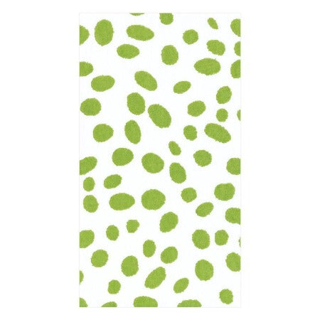 Spots Paper Linen Guest Towel Napkins in Green - 12 Per Package