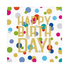 Happy Birthday Confetti Paper Luncheon Napkins - 20 Per Package