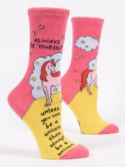 Always Be Yourself Unless You Can Be A Unicorn Women's Crew Socks