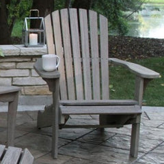 Grey Wash Eucalyptus Adirondack Chair with Built-in Stowaway Ottoman