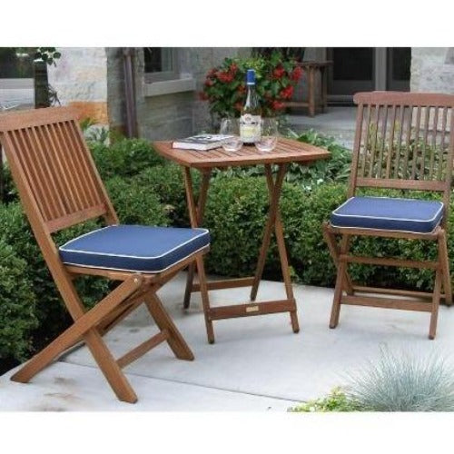 3pc. Square Eucalyptus Bistro Set with Blue Cushions