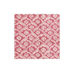 Domino Paper Floral Cross Brace Boxed Paper Cocktail Napkins in Red - 40 Per Box