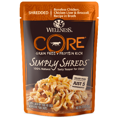 CORE Simply Shreds Mixer or Topper Chicken, Chicken Liver & Broccoli 2.8 oz