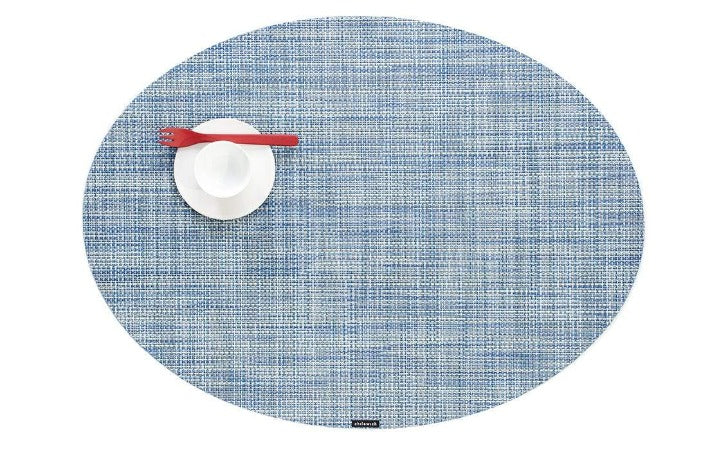 Chilewich Mini Basketweave Oval Table Mat Chambray