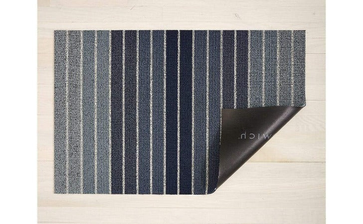 "Chilewich Block Stripe Shag Floor Mat Denim 24""x36"