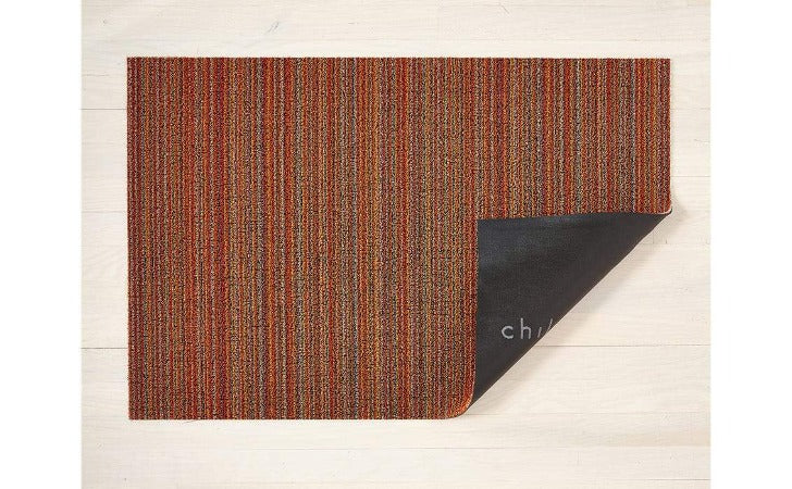 "Chilewich Skinny Stripe Shag Mat Orange 24""x36"""