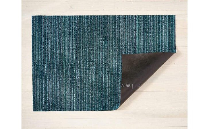 "Chilewich Skinny Stripe Shag Mat Turquoise 24""x36"""