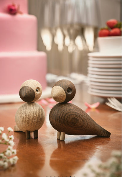 Lovebirds - set van 2 - eik