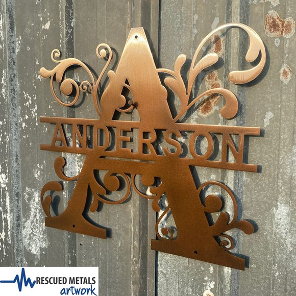 Custom Family Monograms Metal Wall Art Signs Artwork and Gifts