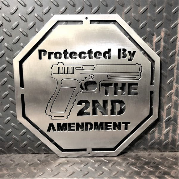 Protected By 2nd Amendment Metal Wall Art Signs and Gifts