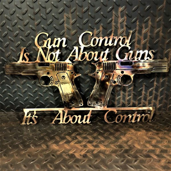 Gun Control Dual Pistols Metal Wall Art Signs and Gifts