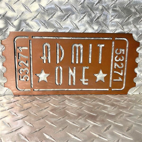 Movie Ticket Admit One Theater Movies Metal Wall Sign Art Decor