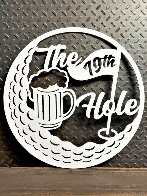 Golf 19th Hole Bar Sign Metal Wall Art Decor