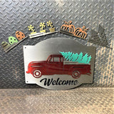 Interchangeable Seasonal Holiday Pickup Truck Metal Wall Art Decor