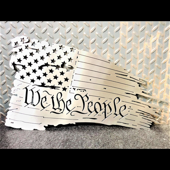 We The People Tattered metal flag