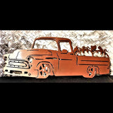 Pumpkin Pickup Truck Metal Art