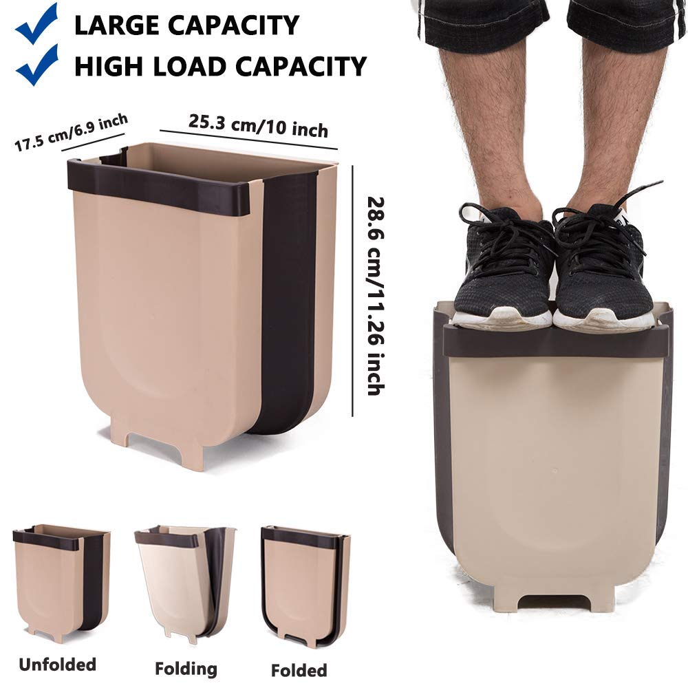 Hanging collapsible trash can
