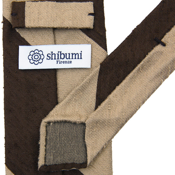 Block Stripe Shantung Silk Tie - (Brown/Beige)
