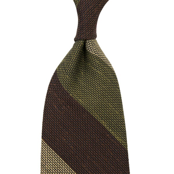 Triple Block Stripe Grenadine Linen / Silk Tie - (Brown)