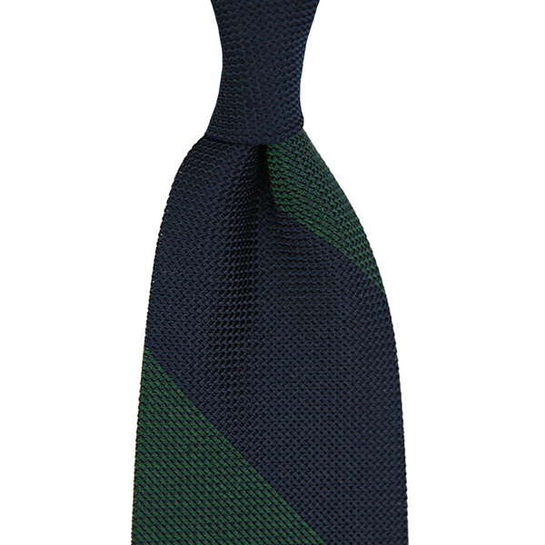 Block Stripe Grenadine/Garza Piccola Silk Tie - (Navy/ Forest Green)