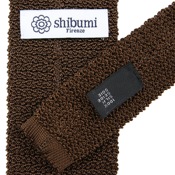 Crunchy Silk Knit Tie - (Brown)