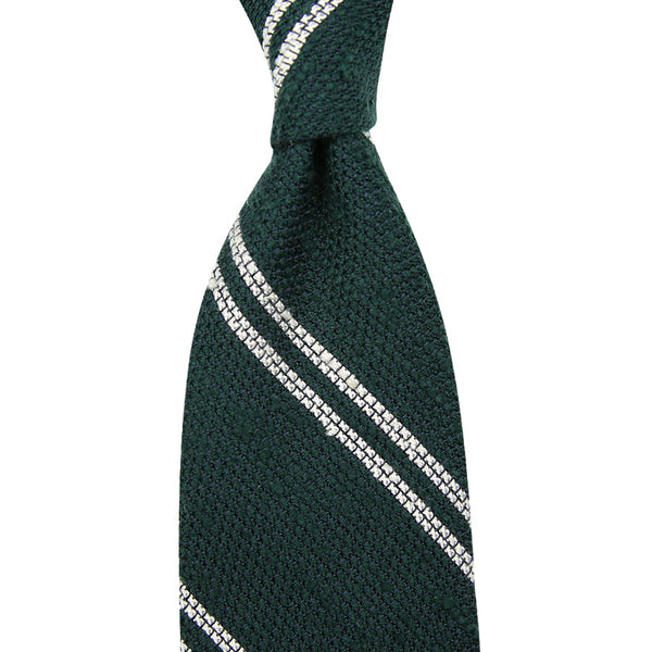 7-Fold Double Bar Shantung Grenadine Tie - (Forest)