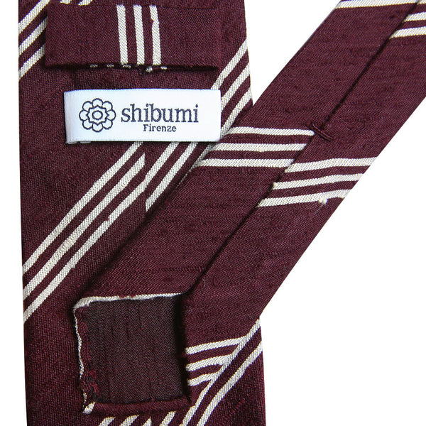 Triple Bar Shantung Silk Tie - (Burgundy)