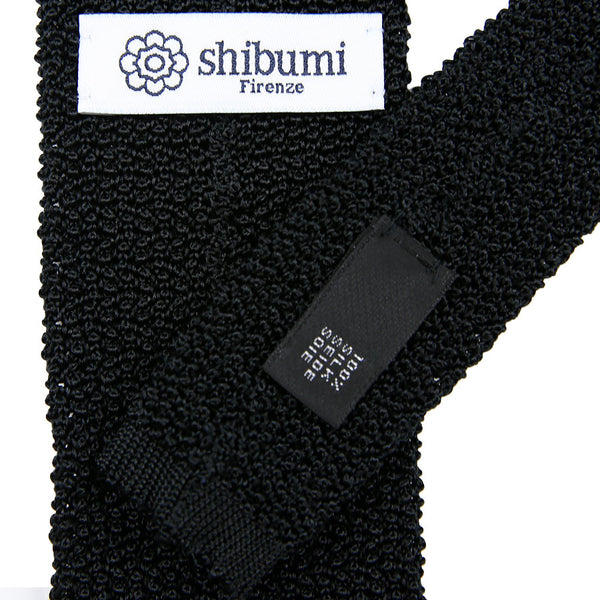 Crunchy Silk Knit Tie - (Black)