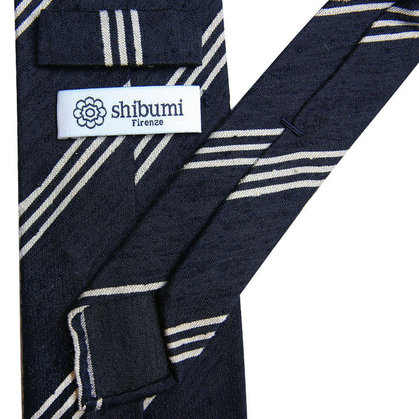 Triple Bar Shantung Silk Tie - (Navy)