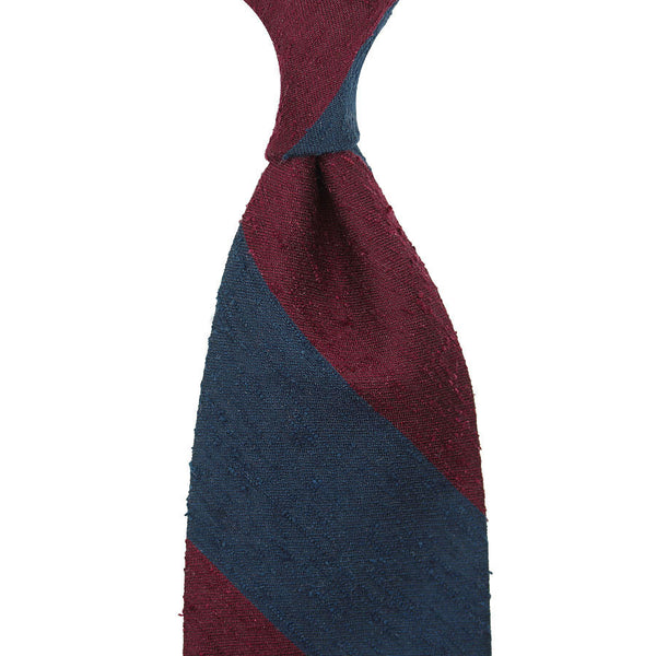 Block Stripe Shantung Silk Tie - (Navy / Burgundy)