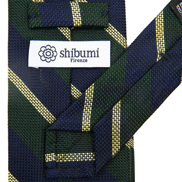 Striped Grenadine/Garza Piccola Silk Tie - (Navy/ Forest/ Yellow)