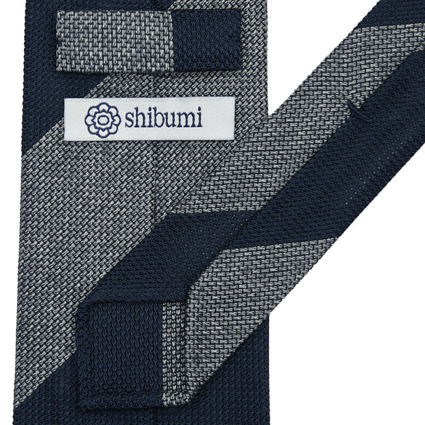 Block Stripe Grenadine/Garza Piccola Silk Tie - (Navy/Grey Mottled)