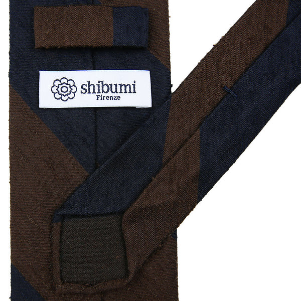 Block Stripe Shantung Silk Tie - (Navy / Brown)