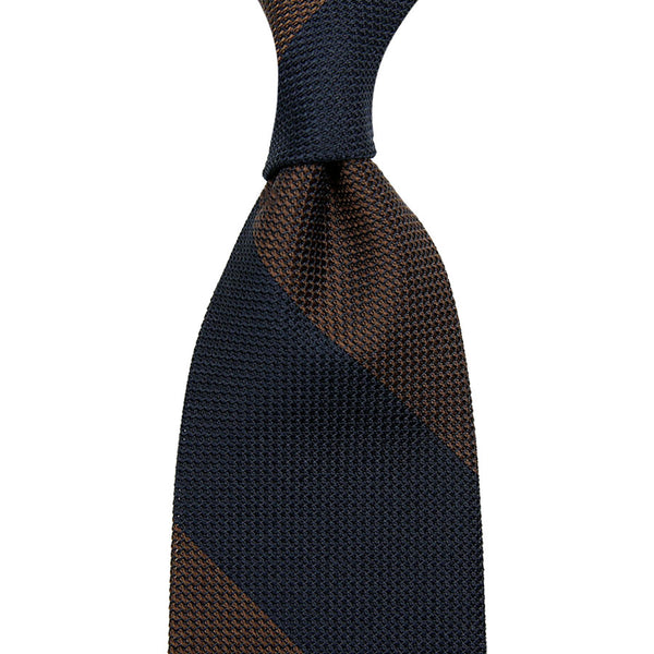 Block Stripe Grenadine/Garza Piccola Silk Tie - (Navy/ Brown)