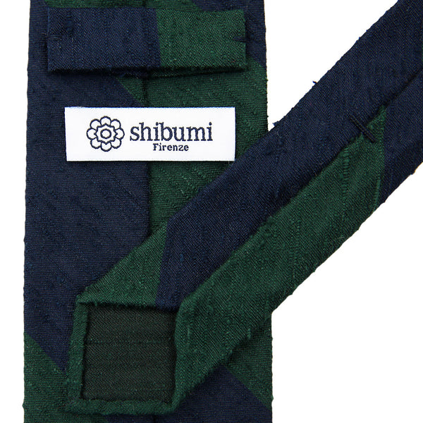 Block Stripe Shantung Silk Tie - (Navy / Forest)