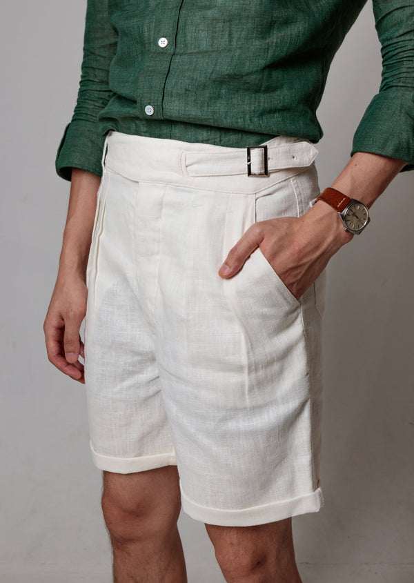 Linen Gurkha Shorts (White)